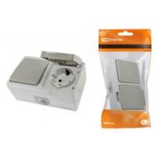 Блок комбинированный гориз. о/у 1 клавиша, выключатель 10А+розетка 16А с/з и штор. с кр. IP 54, серы