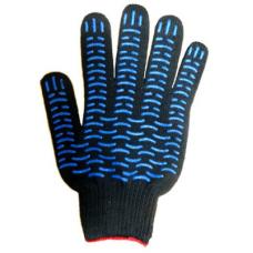 Перчатки 10 класс (5 нитей) чёрные с ПВХ